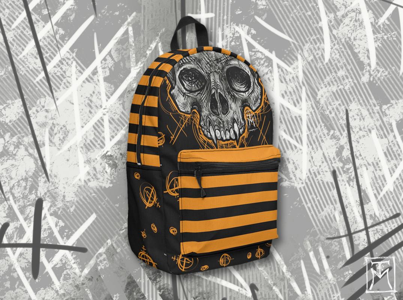 Halloween Vampire Skull Backpack Mockup