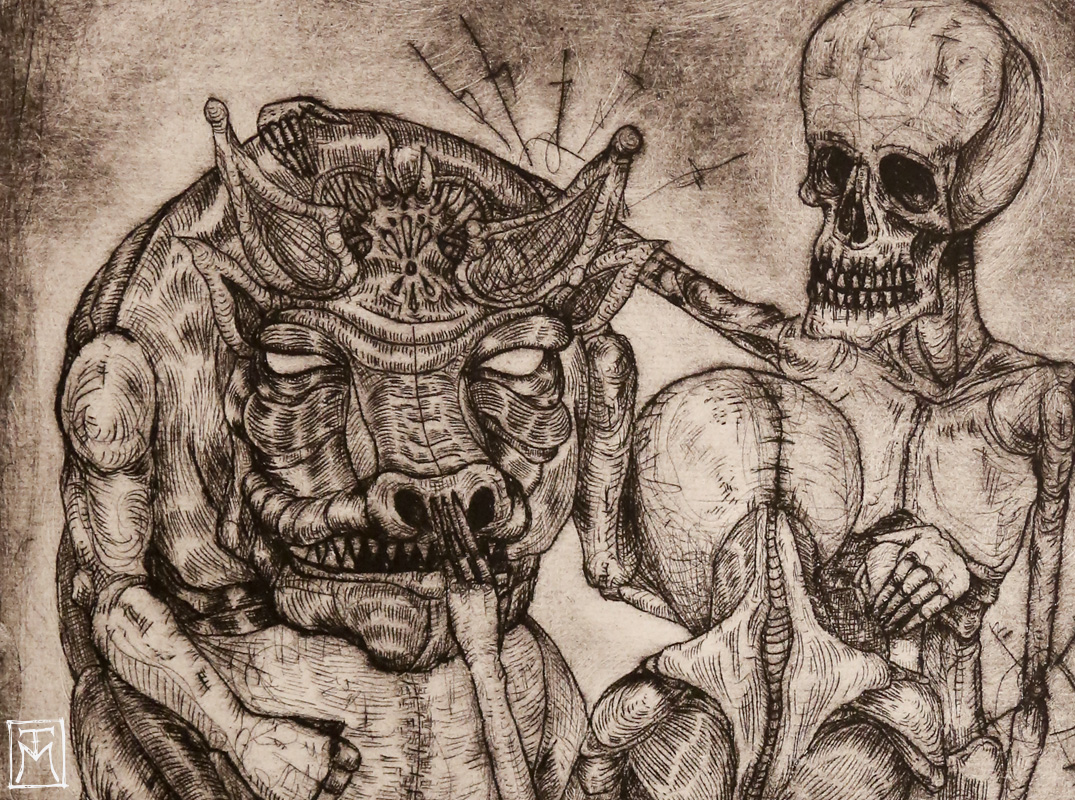 """""""The Dialogue"""" Etching (detail)"""