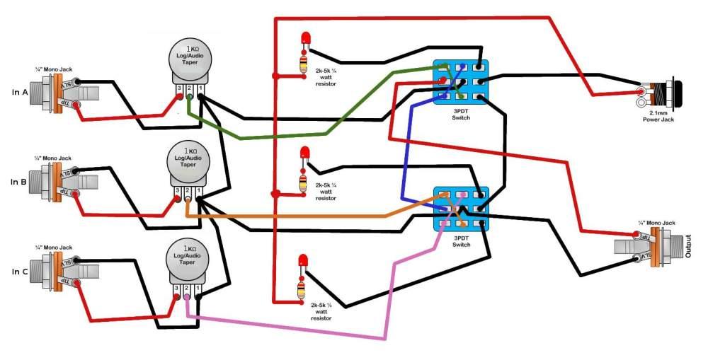 medium resolution of  diy a b c pedal with individual attenuation talkb