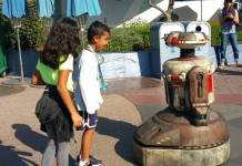 A droid named 'Jake' roams Disneyland.