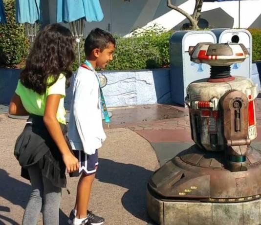 A droid named 'Jake' roams Disneyland.