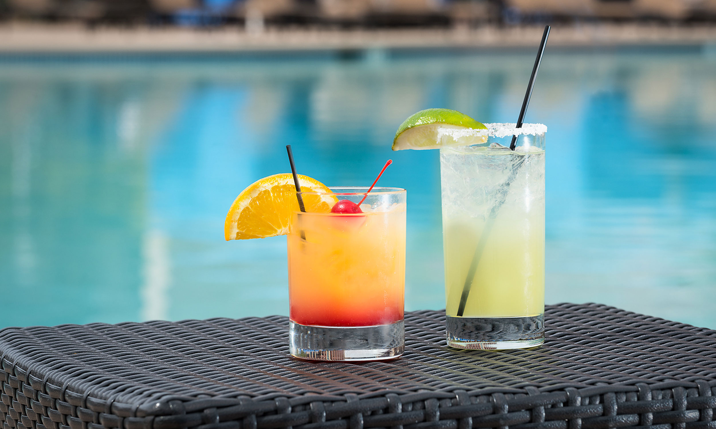 water lounge chairs hampton bay patio resort pools