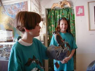 Students with raptor