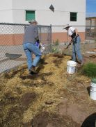 RMS Outdoor classroom; preparing beds for the garden.