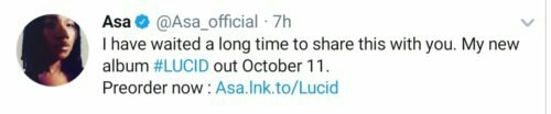 """Asa reveals the release date for her forthcoming album """"LUCID"""""""
