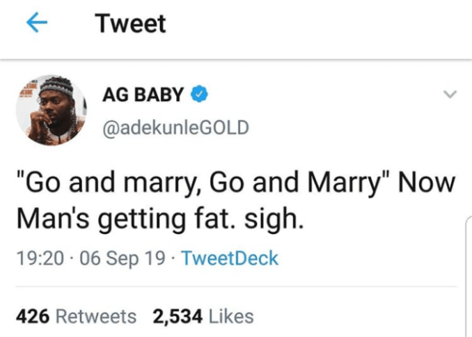 Adekunle Gold cries out for getting fat after marriage