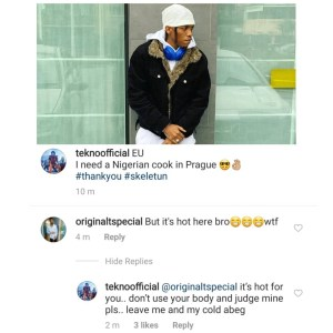 Singer Tekno defends his decision to wear a Jacket in 'Hot' Italy (photo)