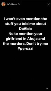 Peruzzi bags rape accusation from female singer, Daffy Blanco (See Details)