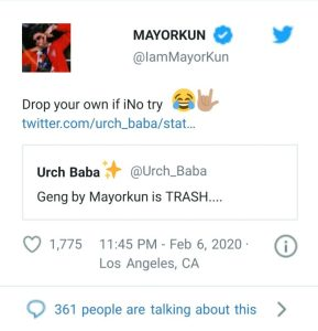 """Mayorkun replies critic who said """"Geng"""" is trash"""