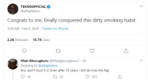Tekno celebrates as he reveals he has stopped smoking