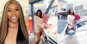Mercy Eke celebrates as she receives Benz gift (See Photos)