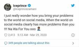 Ice Prince condemns those who share their problem on social media