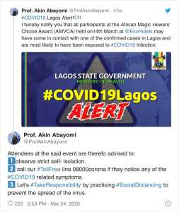 """""""All AMVCA attendees were exposed to a confirmed coronavirus patient"""" - Lagos commissioner for health"""