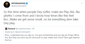 Patoranking suggests celebrities should do offline giveaways, blasts fan who asked him to do giveaway online
