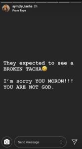 Hot! Tacha fires back at Ubi Franklin for his revelation, calls him 'Moron' (video)
