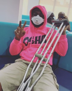 Breaking: Davido sustains serious injury, confines to clutches (Photos)