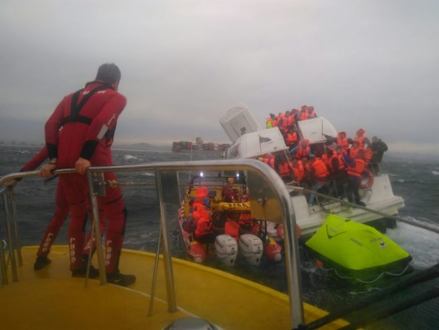 Large sea rescue operation taking place in Cape Town near Robben Island