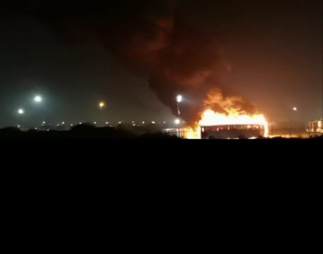 UP IN SMOKE: An Algoa Bus was set alight at its Motherwell depot on Wednesday night. Picture: Accidents & Traffic PE Image: Accidents & Traffic PE