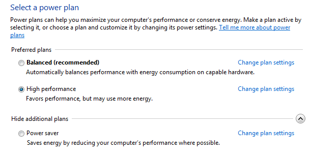 power options windows seven