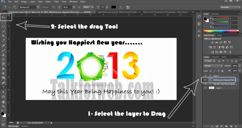 Step 3 Designing The Facebook Banner - Dragging Image in Photoshop