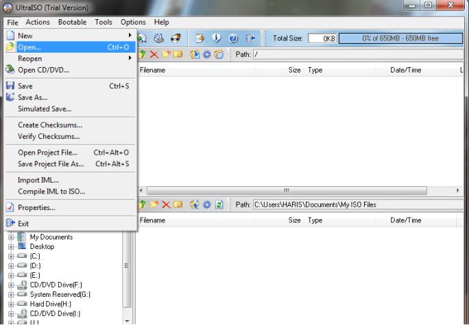 how to make a bootable USB - UltraISO 1