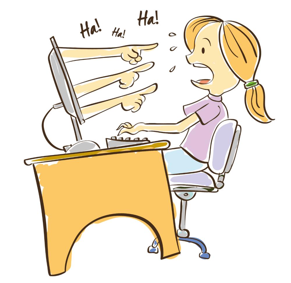medium resolution of woman cyberbullying cartoon