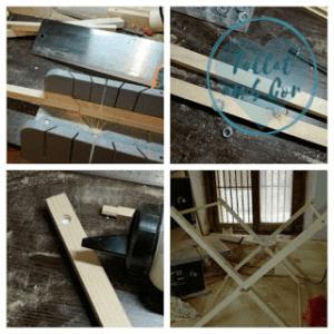 Collage de cuatro imágenes en las que se ve la elaboración del tendedero infantil: cortando, encolando, los listones y el tendedero a falta de las cuerdas.