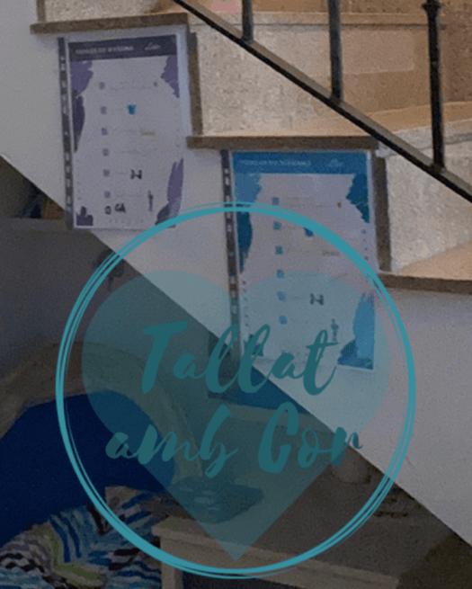 Las dos checklist de cada niño colgadas donde las teníamos, en el lateral de la escalera de subida a las habitaciones
