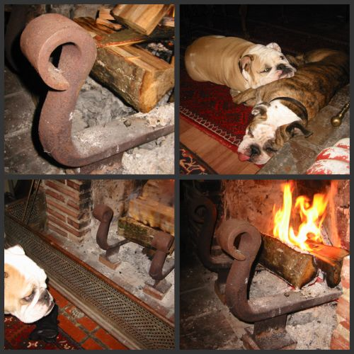 fireplace andirons forged from train rails