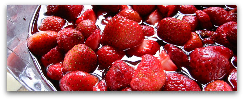 fresh strawberries in sugar