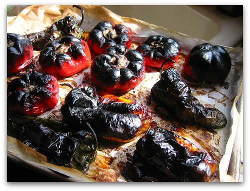 tray of burnt roasted peppers