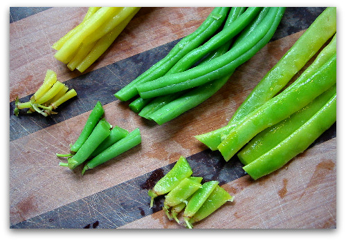 blanched beans on chopping board