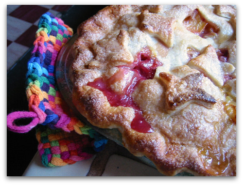 peach pie fresh from the oven