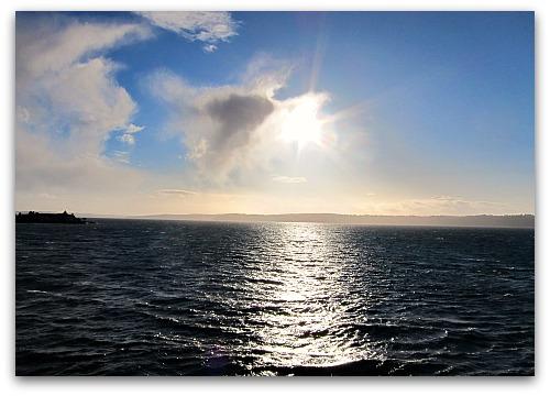 washington ferry on sunny winter day