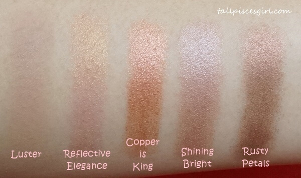 Swatches: Luster, Reflective Elegance, Copper is King, Shining Bright, Rusty Petals