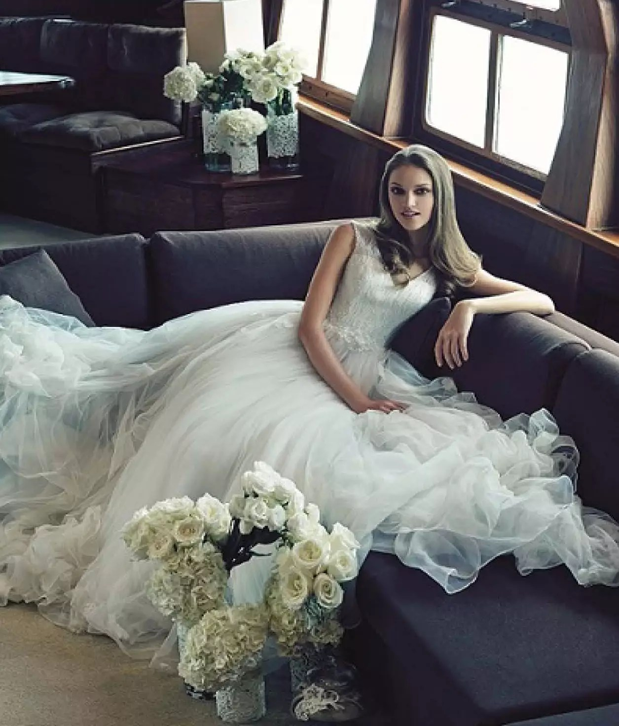beautiful caucasian bride sitting on grand salon royal albatross