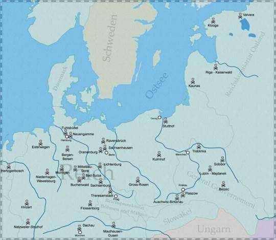 Karte mit den Standorten der Konzentrationslager - © Karte erstellt von Mariusz Rzepkowski