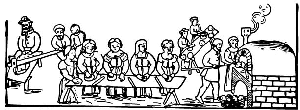 Backen von Mazzot - nach der Pessach-Haggadah von Mantua (1560)