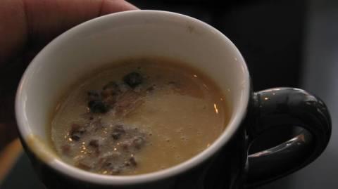 מרק קרם ערמונים עם פטריות צלויות