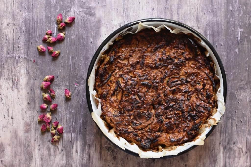 פשטידה דיאטטית של בצלים ופטריות