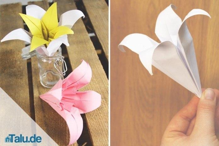 Anleitung fr Origami Lilie Lilie aus Papier falten  Talude