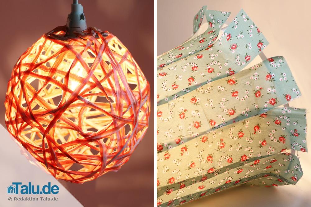 Lampenschirm selber machen und beziehen  2 Ideen zum