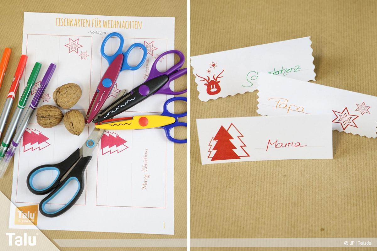 Tischkarten fr Weihnachten zum Ausdrucken und Beschriften