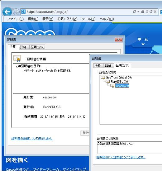SSLサーバ証明書ドメイン認証(IE)