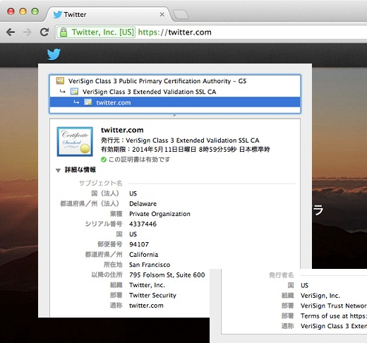 SSLサーバ証明書EV組織認証(Chrome)