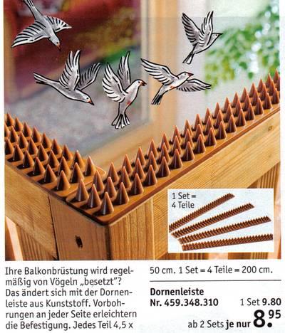 Dornenleiste für die Balkonbrüstung zur Vogelabwehr