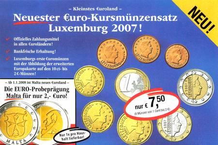Werbung: Kleinstes Euroland - Neuester Euro-Kursmünzensatz Luxemburg 2007 - nur EUR 7,50