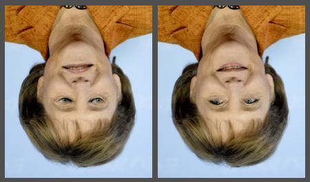 Zwei Bilder von Bundeskanzlerin Angela Merkel, eines ist bearbeitet und eines nicht