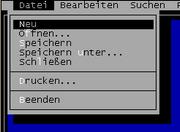 Das Menüsystem einer späteren DOS-Anwendung