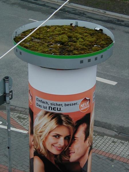 Eine Litfaßsäule, die eigentümlich zur Werbung passt. Einfach, sicher, besser. Das ist neu. Und oben sammeln sich Müll und Taubenkot wie in einem großen Aschenbecher.